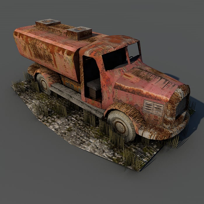 free weathered truck ruins 3d model