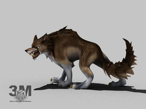 wolf dog canine 3d model