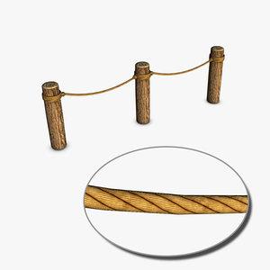 3d model logs rope barrier