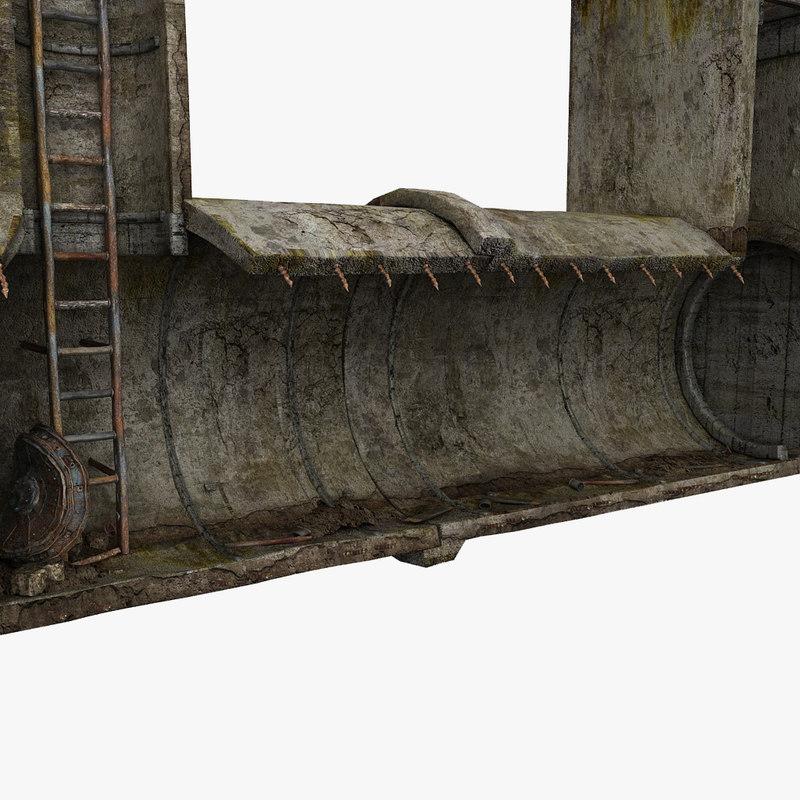 3d concrete tunnel scene model