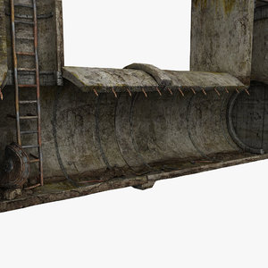 3d concrete tunnel scene model