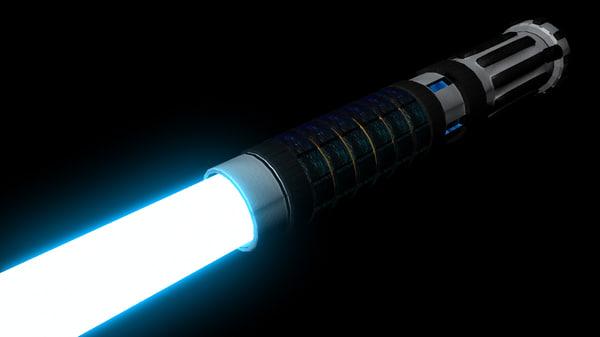 star blue jedi lightsaber 3d obj