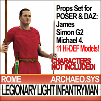 Props Set Poser Daz for Ancient Rome Light Infantryman 4 BC