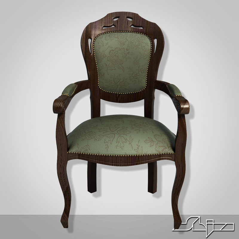 3d model chair dark wood
