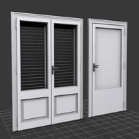 3d model white wood doors