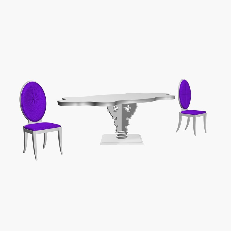 3d model of elisir cloud table chair