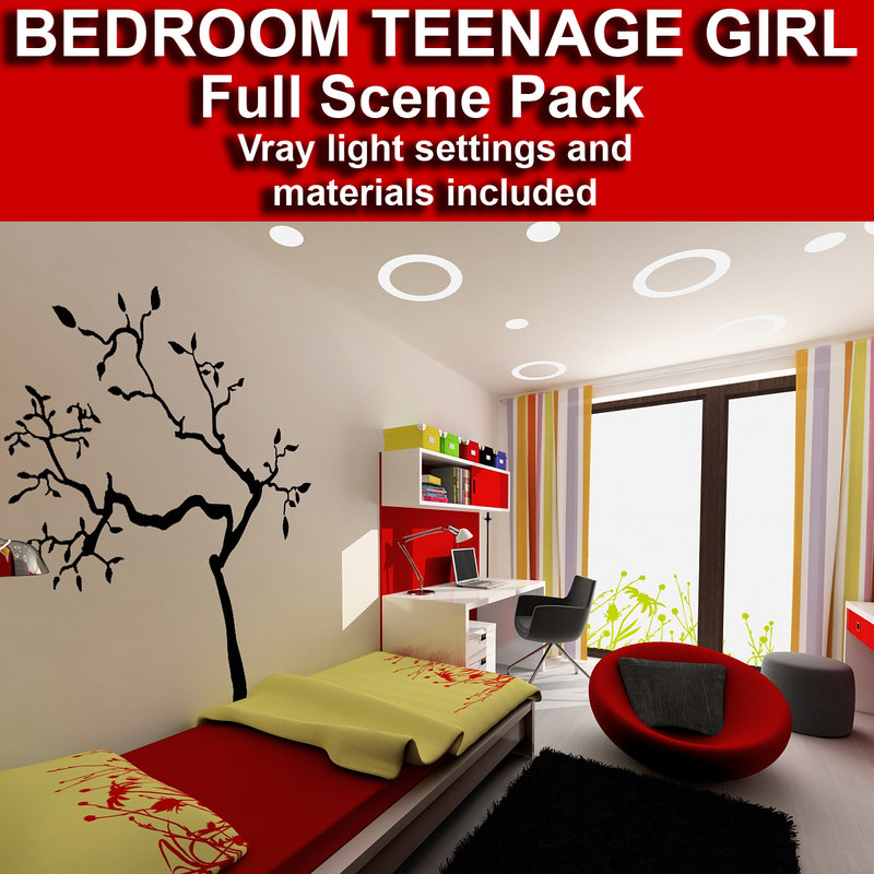 teenage girl interior 3d model