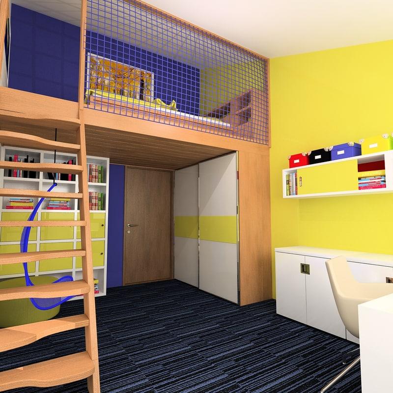 kids room 3d 3ds