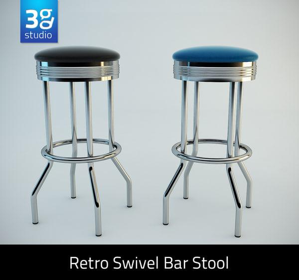 3d model retro bar stool
