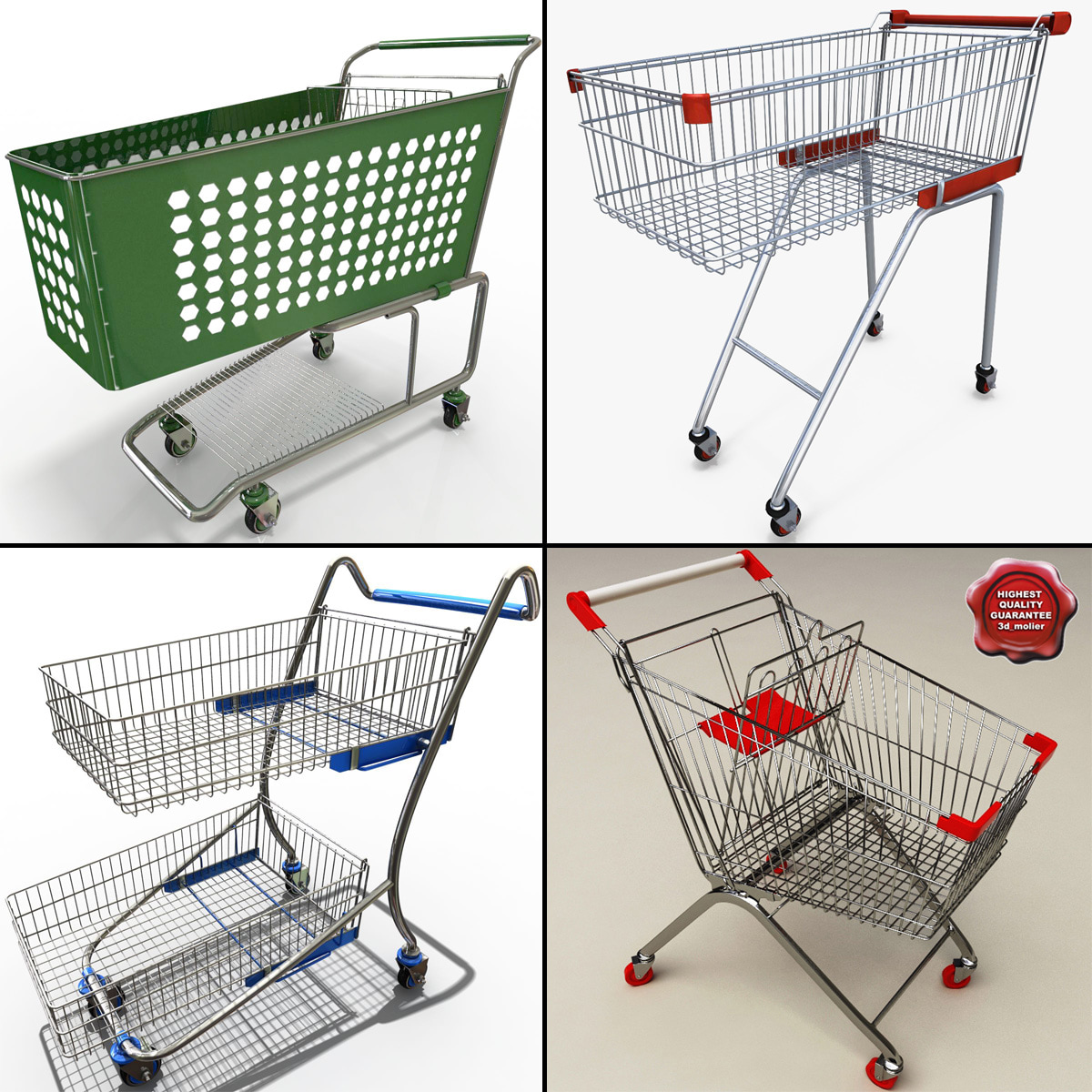 supermarket trolleys 3d c4d