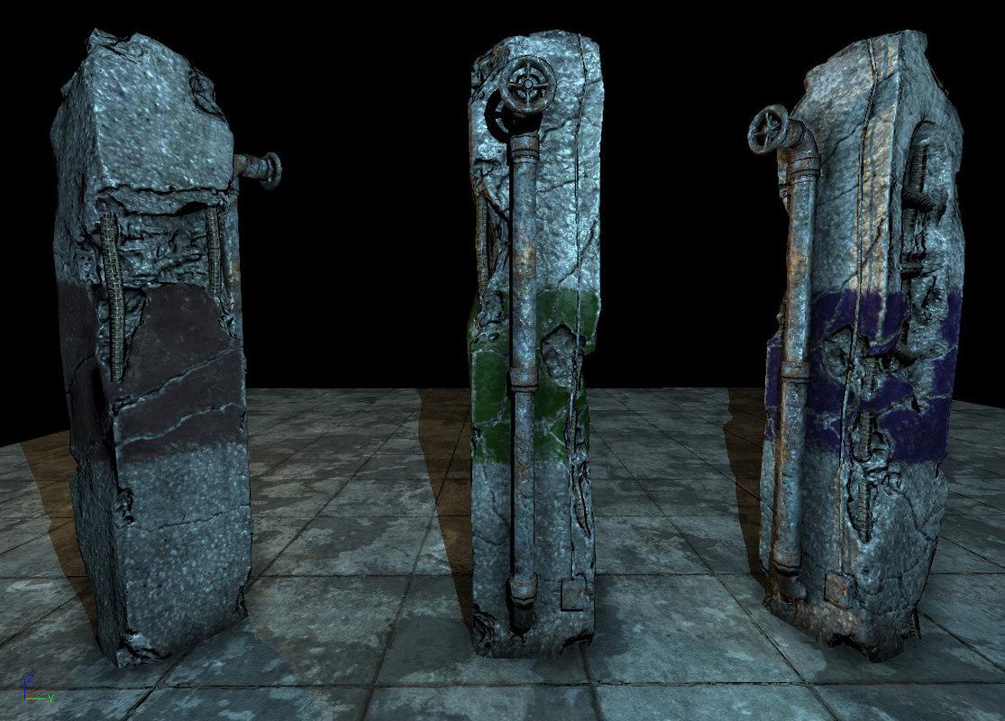 3d max old damaged pillar