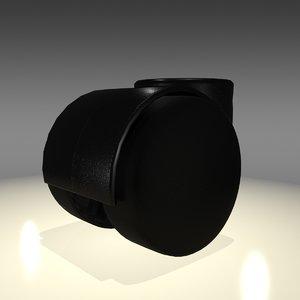 3d model desk chair wheel caster