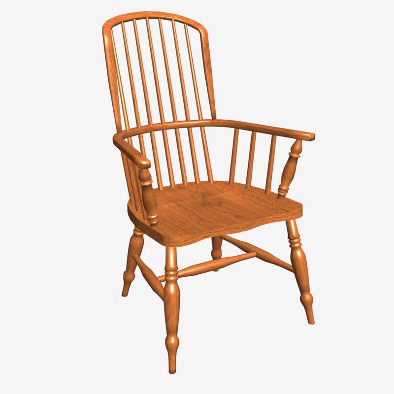 3d model stickback windsor armchair