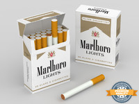 3d model marlboro lights cigarette box