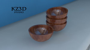 3d model cherry wood bowl