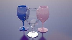 3d wine glasses model
