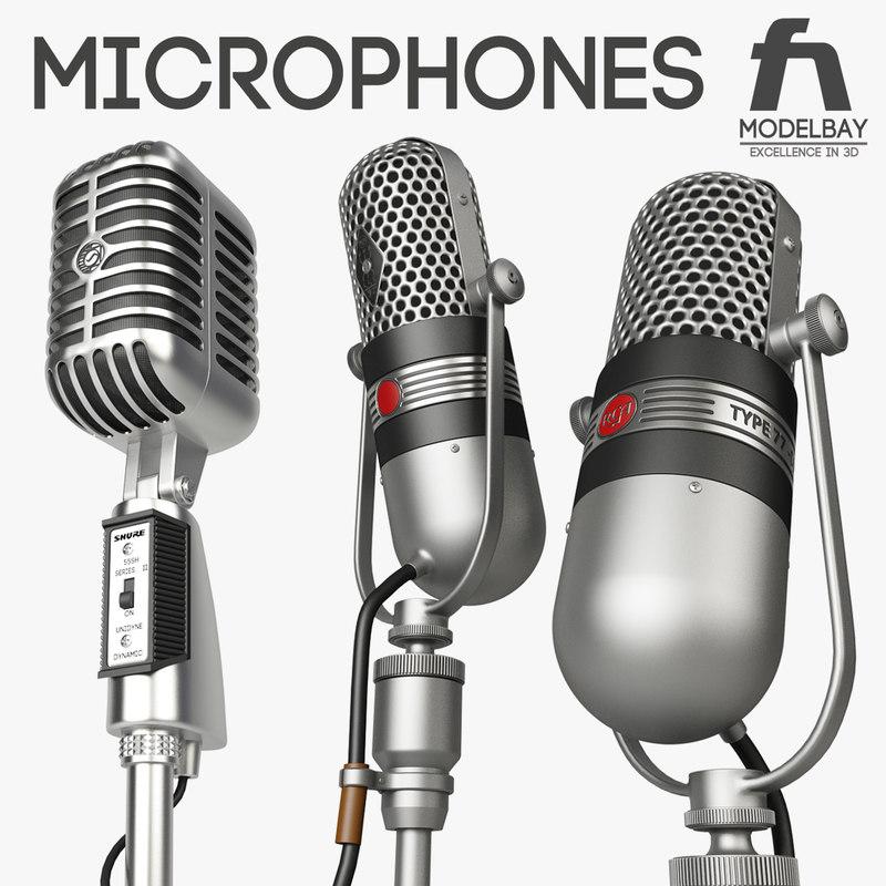 retro microphones shure 55sh 3d model