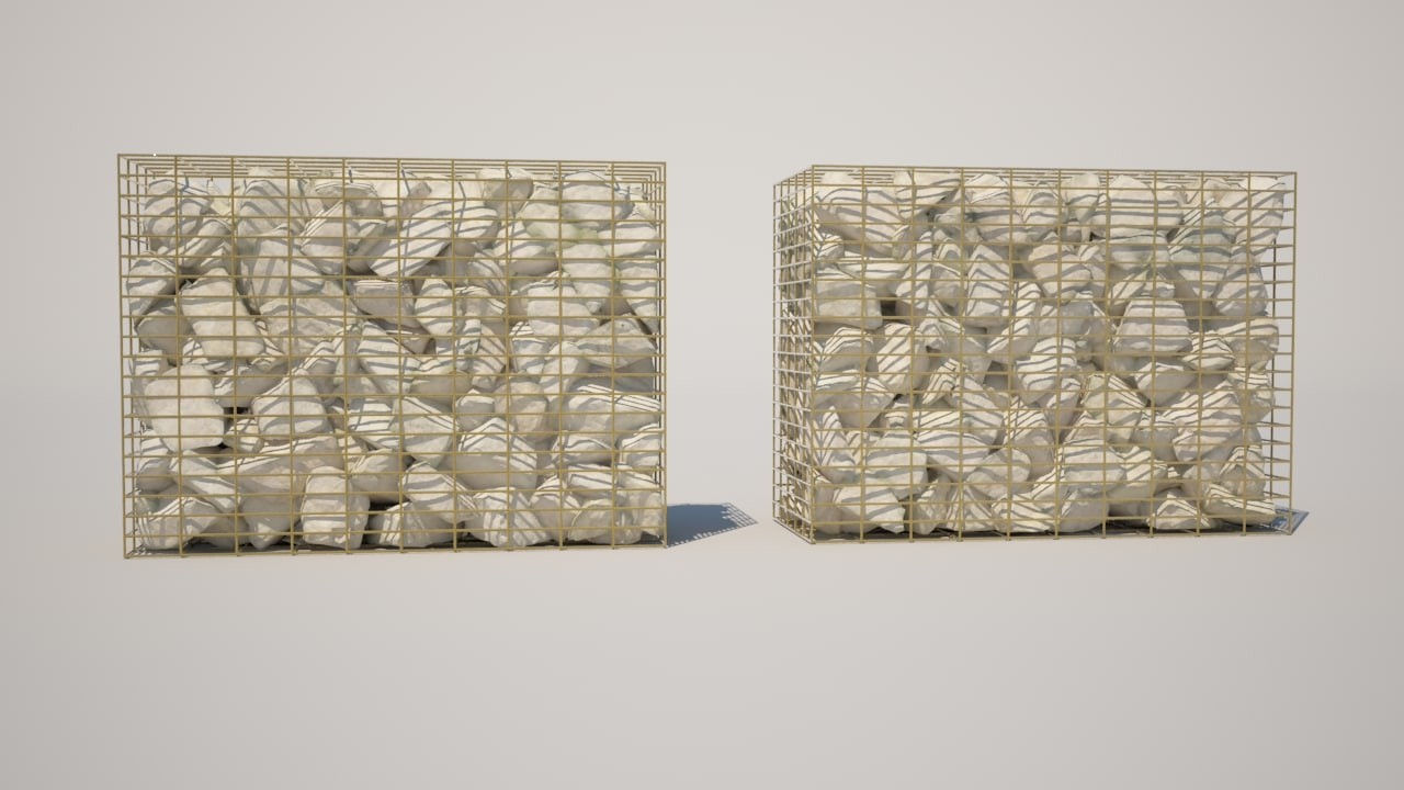 3ds max gabion baskets rocks