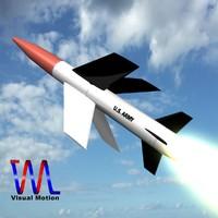3d model mgm-18a lacrosse missile explosive