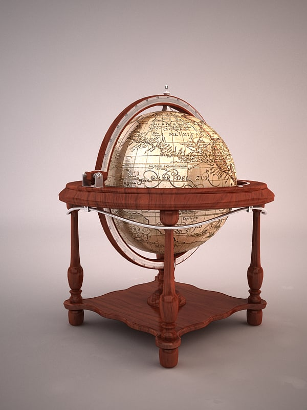 3d luxurious globe bar model