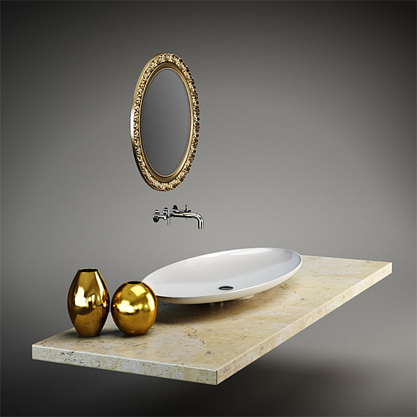 3d model set mirror bathroom