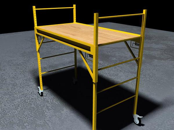 yellow baker scaffolding 3d model