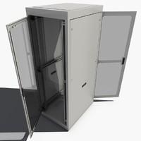 3d server rack cabinet model