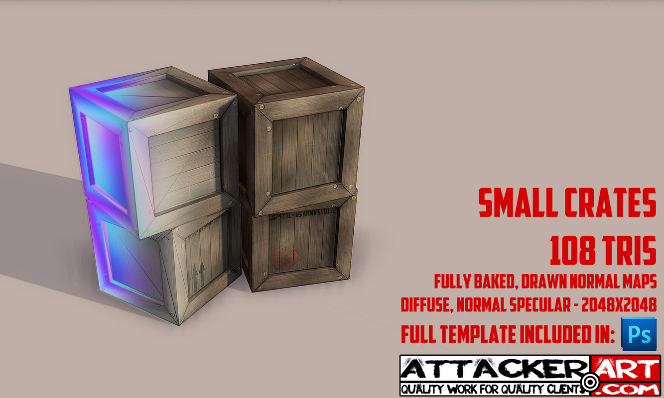 3d model box crate wood