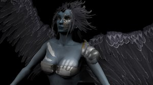 winged female creature 3d model