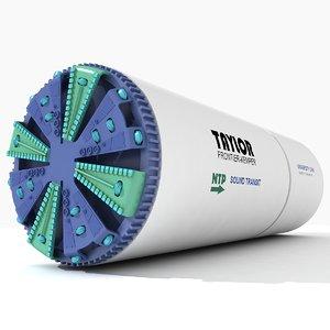 tunnel boring machine 3d max