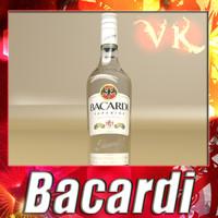 Photorealistic Bacardi Rum Botlle - High Detailed