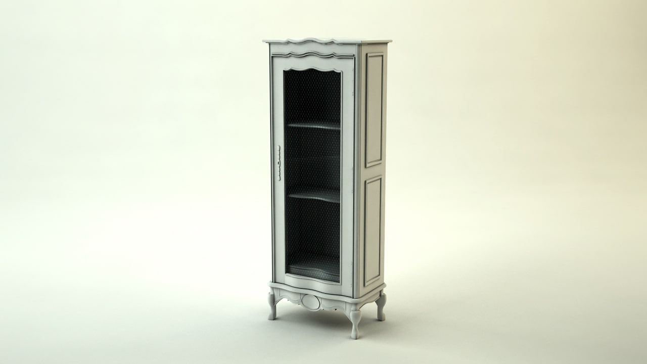 3d model chateau book cabinet arch