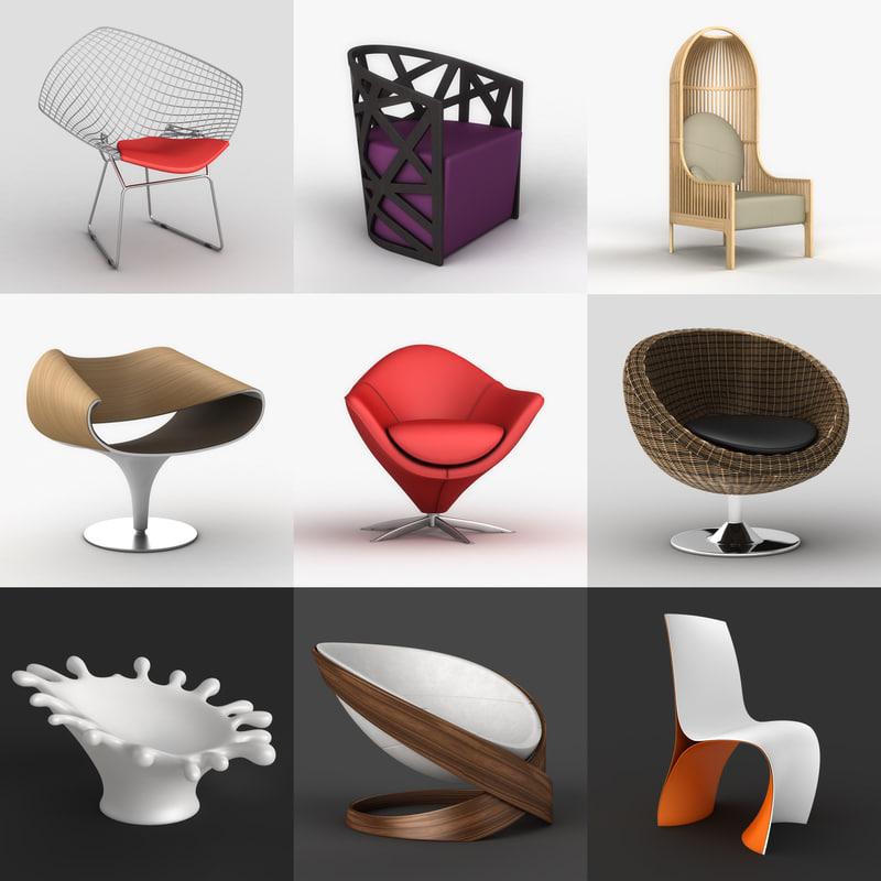 3d chair armchair swivel model
