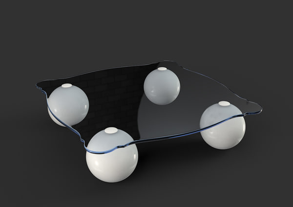 coffee table shaped glass 3d max