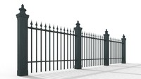 classic cast iron fence 3d model