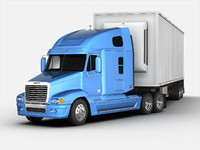 3d model freightliner truck trailer
