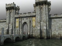 medieval castle gatehouse towers dxf