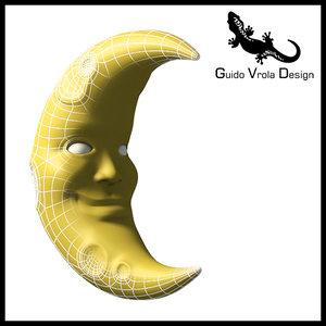 cartoon style moon obj