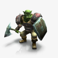 3d model orc warrior rigged animations