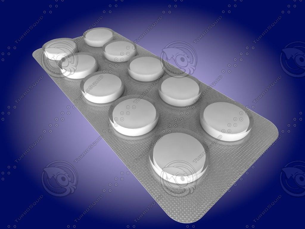 3d pills pack model