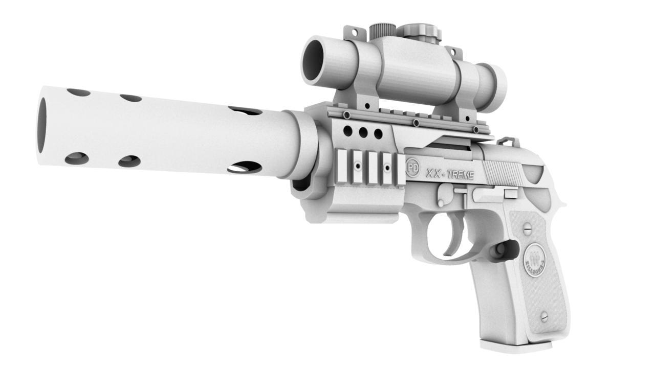 3d model pistol