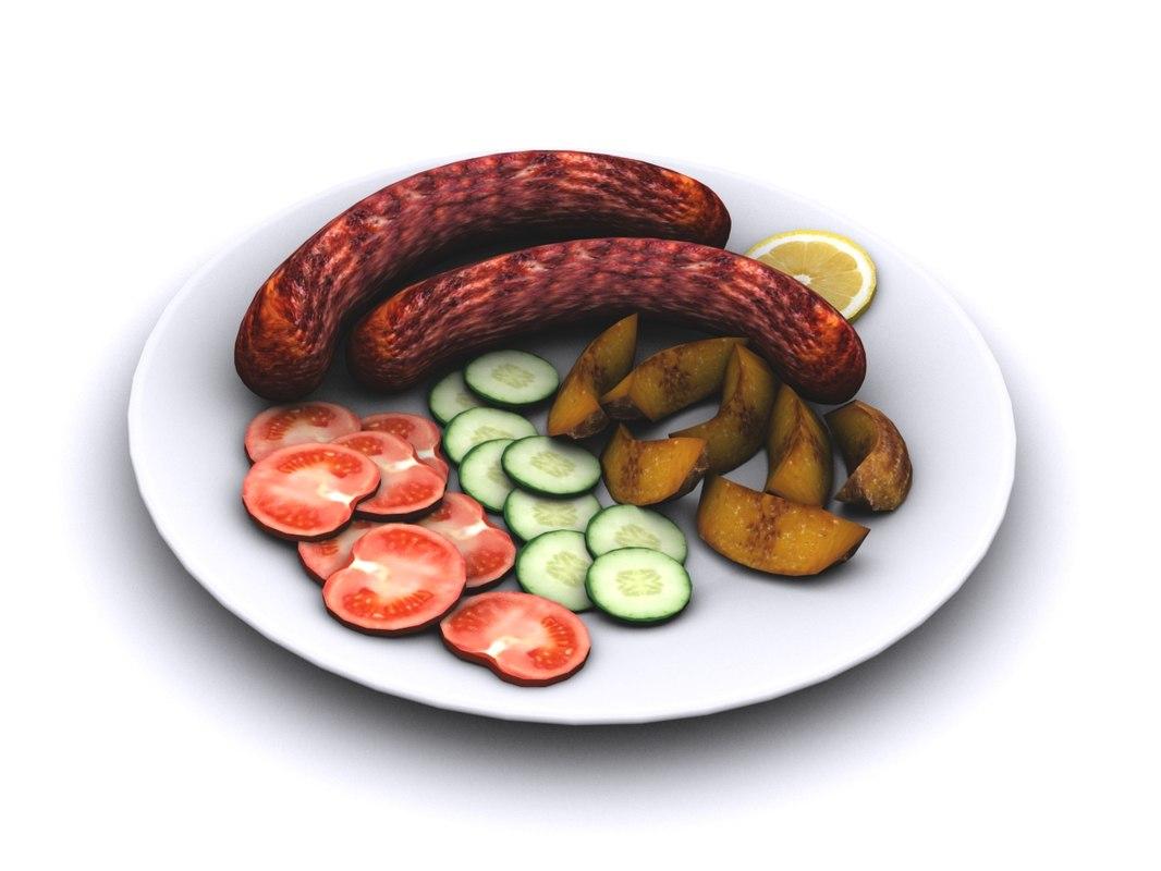 3d grilled sausage
