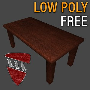 wooden table 3ds free
