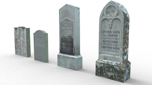 2 tombstones 3d obj