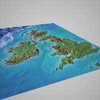 Great Britain 3D Mountain Map