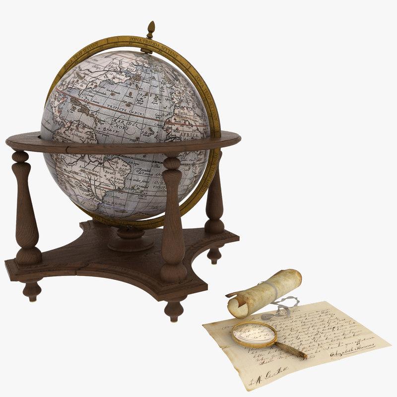 vintage globe 3d model