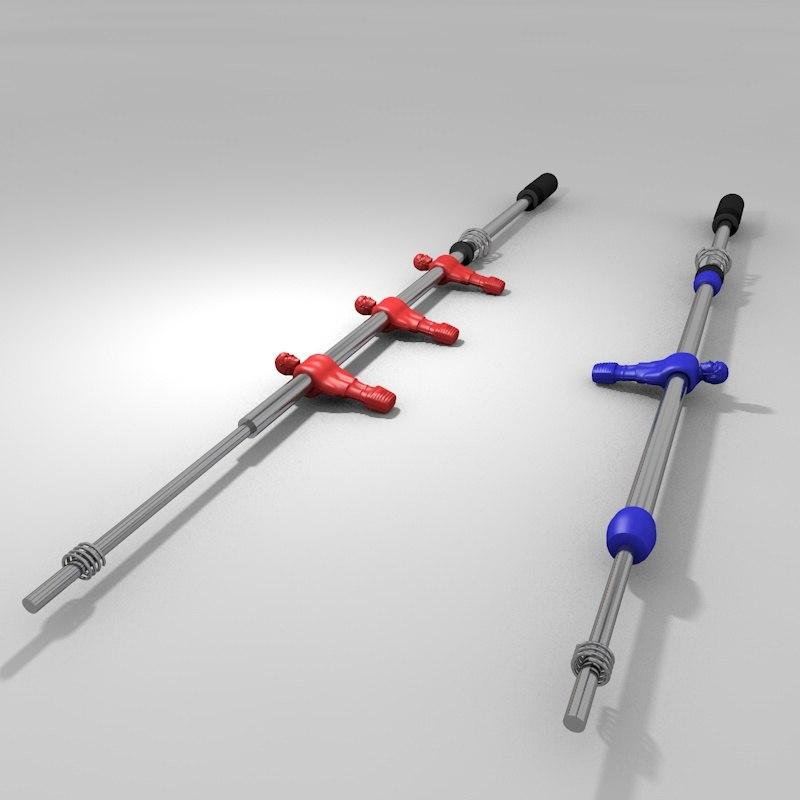 football table s bars 3d model