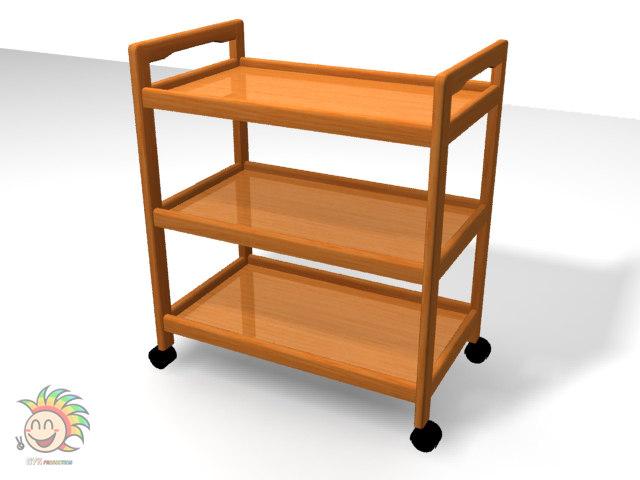 3d wooden trolley
