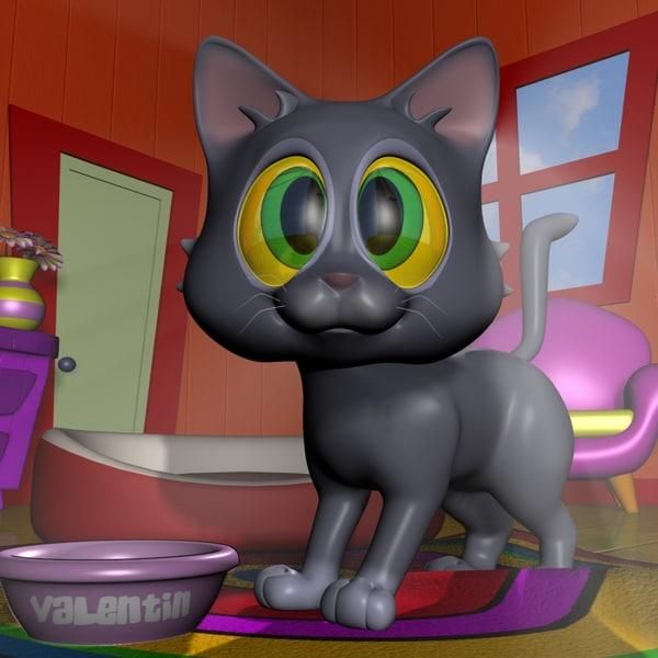3d 3ds baby cat cartoon