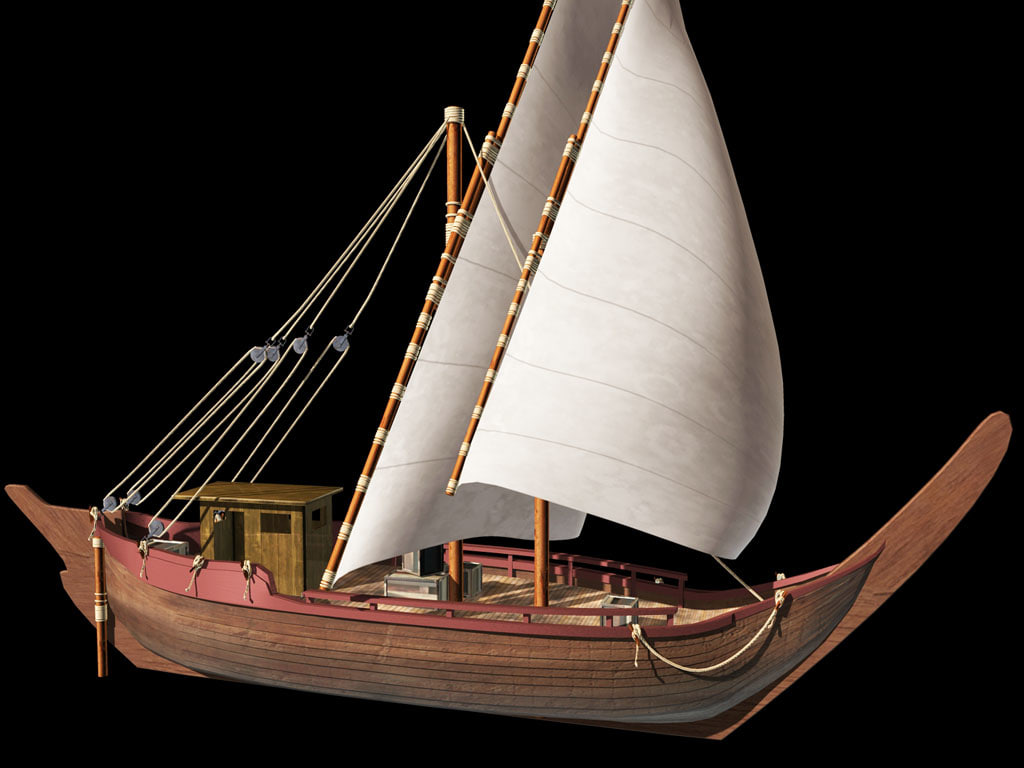 3d model cargo arab dhow sail